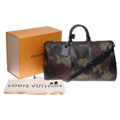 ULTRA EXCLUSIVE-BRAND NEW-LV Keepall 50 strap camouflage in khaki nylon