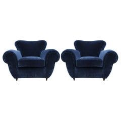 Ultra Luxe Pair of Italian Modern Lounge Chairs Attributed to Giulio Minoletti