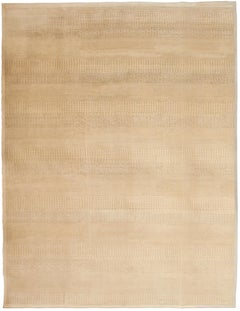 Ultra-Modern Cream and Camel Contemporary Wool Carpet