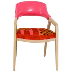 Ultra Modern Upholstered Dining Chair with Pink Vinyl and Tiger Velvet