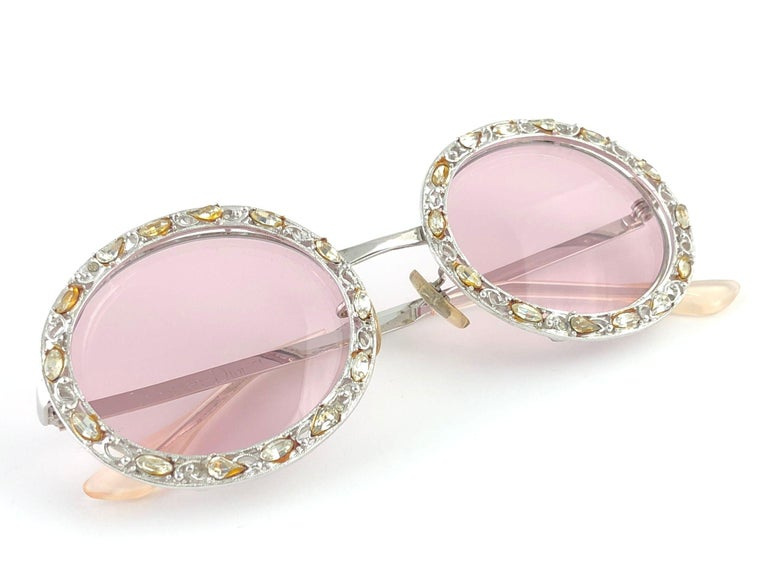 Ultra Rare 1960 Christian Dior Crystalline Accented Archive Dior Sunglasses For Sale 8