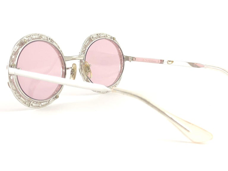 Beige Ultra Rare 1960 Christian Dior Crystalline Accented Archive Dior Sunglasses For Sale