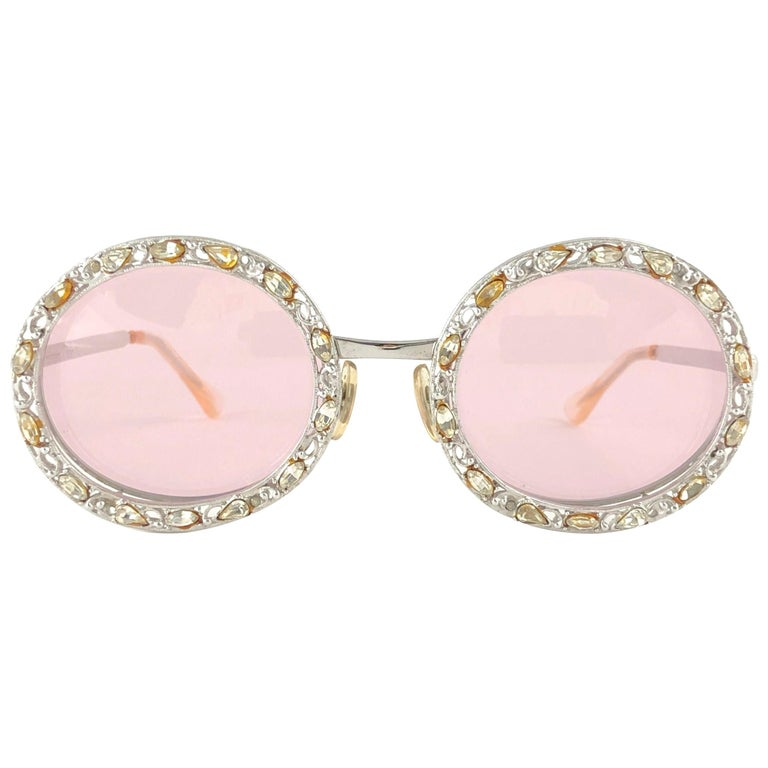 Ultra Rare 1960 Christian Dior Crystalline Accented Archive Dior Sunglasses For Sale