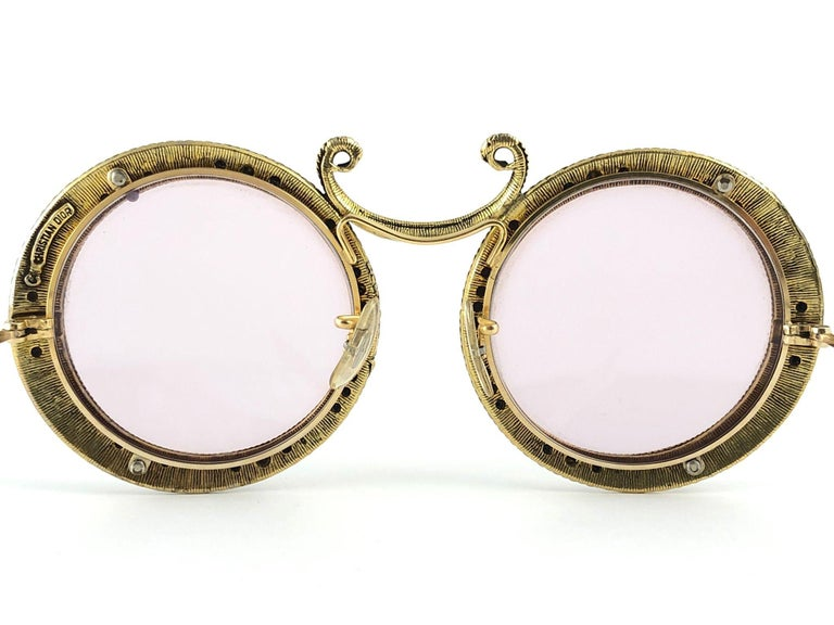 Ultra Rare 1960 Christian Dior Enamel Jewelled Black Archive Dior Sunglasses For Sale 1
