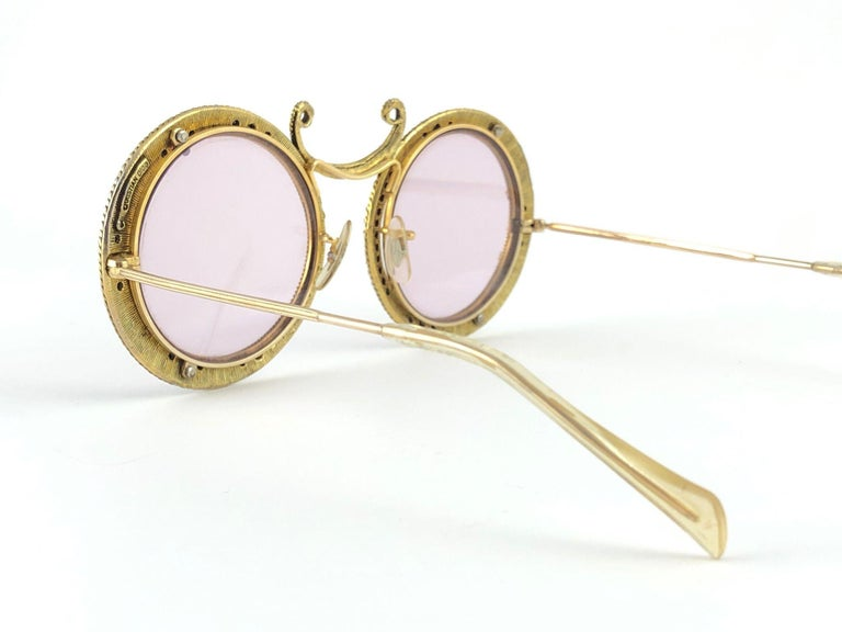 Ultra Rare 1960 Christian Dior Enamel Jewelled Black Archive Dior Sunglasses For Sale 2