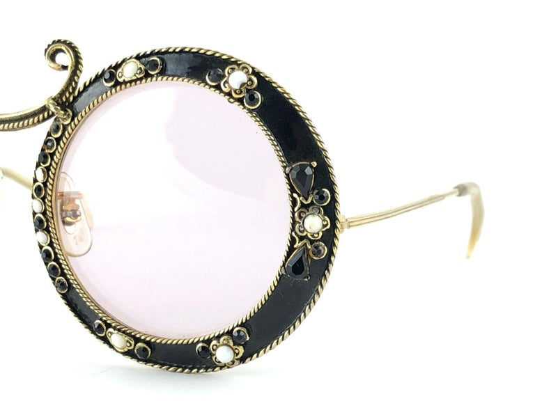 Ultra Rare 1960 Christian Dior Enamel Jewelled Black Archive Dior Sunglasses For Sale 4