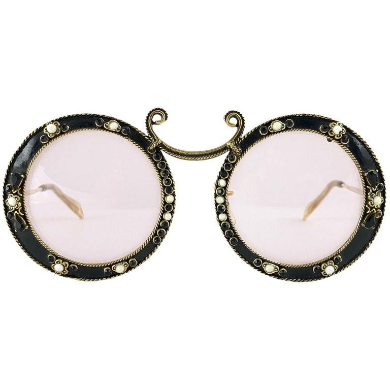 Ultra Rare 1960 Christian Dior Enamel Jewelled Black Archive Dior Sunglasses For Sale