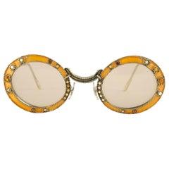 Ultra Rare 1960 Christian Dior Enamel Jewelled Orange Archive Dior Sunglasses