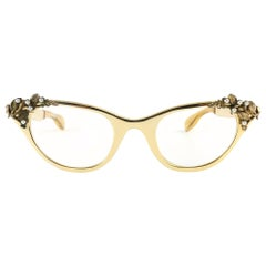 Ultra Rare 1960 Tura Cat Eye Gold Jewelled Accented Frame  Sunglasses