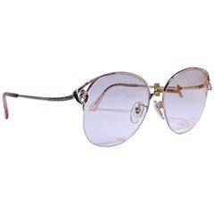Ultra Rare 1970 Tura 145 Half Frame Clear Rhinestones RX Demo Lenses Sunglasses