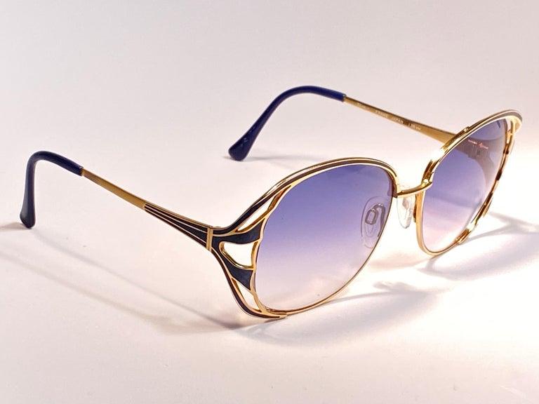Ultra Rare 1970 Tura Blue Enamel & Gold Art Deco Blue Lenses Sunglasses For Sale 6