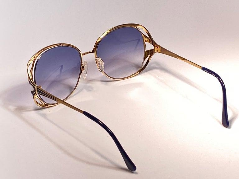 Ultra Rare 1970 Tura Blue Enamel & Gold Art Deco Blue Lenses Sunglasses For Sale 8