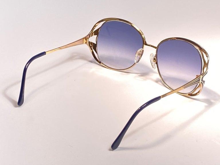 Ultra Rare 1970 Tura Blue Enamel & Gold Art Deco Blue Lenses Sunglasses For Sale 1