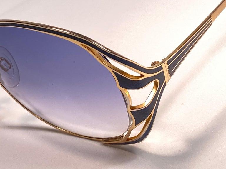 Ultra Rare 1970 Tura Blue Enamel & Gold Art Deco Blue Lenses Sunglasses For Sale 3