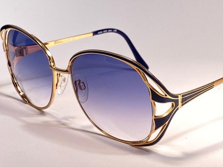 Ultra Rare 1970 Tura Blue Enamel & Gold Art Deco Blue Lenses Sunglasses For Sale 4