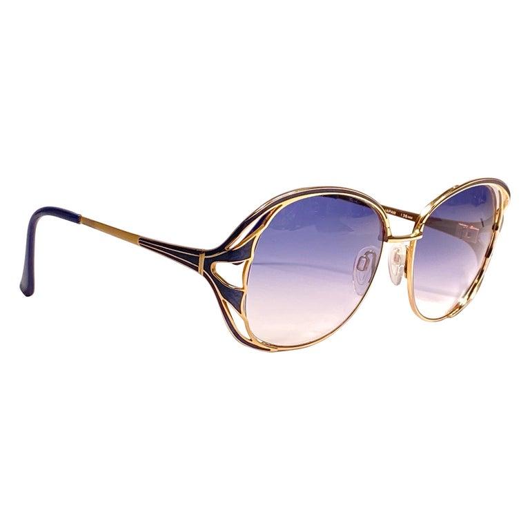 Ultra Rare 1970 Tura Blue Enamel & Gold Art Deco Blue Lenses Sunglasses For Sale