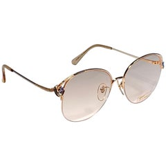 Ultra Rare 1970's Tura 145 Half Frame Blue Rhinestones RX Demo Lenses Sunglasses