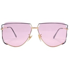 Ultra Rare 1970's Tura 425 Oversized Black Gold Light Lenses Sunglasses