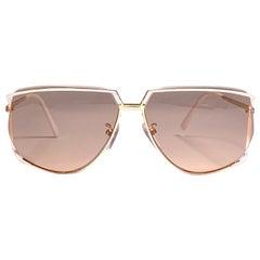 Ultra Rare 1970's Tura 425 Oversized Gold & White Light Lenses Sunglasses