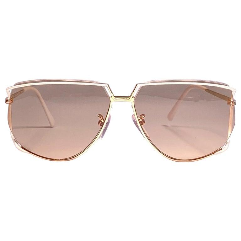 Ultra Rare 1970's Tura 425 Oversized Gold & White Light Lenses Sunglasses For Sale