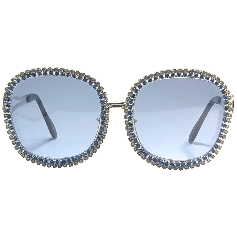 Ultra Rare 1970's Tura Bejewel Oversized Blue Light Lenses Sunglasses