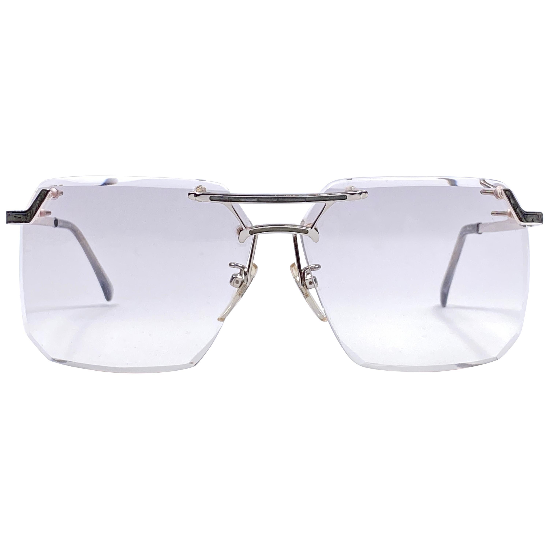 Ultra Rare 1970's Tura Oversized Silver Rimless Translucent Lenses Sunglasses