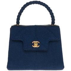 Ultra Rare Chanel handbag in blue passementerie and gold hardware