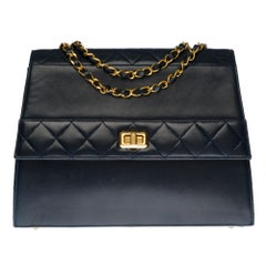 Ultra Rare Chanel Trapeze navy blue shoulder bag and gold hardware