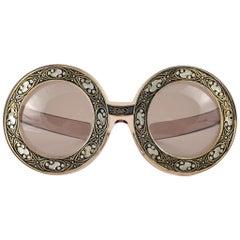 Ultra Rare Christian Dior Enamel Insert Oversized Sunglasses, 1969