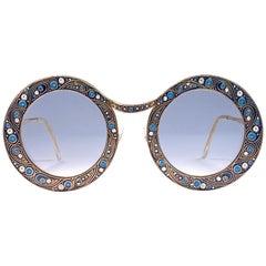 "Ultra Rare Christian Dior ""  Gipsy "" Blue Enamel Oversized Sunglasses, 1969"
