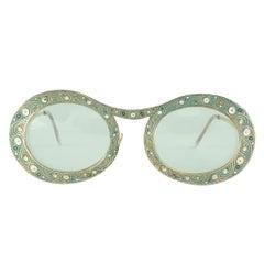 "Ultra Rare Christian Dior ""  Gypsy "" Green 12K Gold  Enamel Sunglasses, 1969"