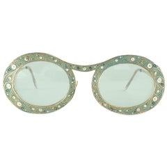 "Ultra Rare Christian Dior ""  Gypsy "" Green  Enamel Oversized Sunglasses, 1969"