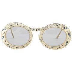 "Ultra Rare Christian Dior ""  Gypsy "" White Enamel 12K Gold Sunglasses, 1969"