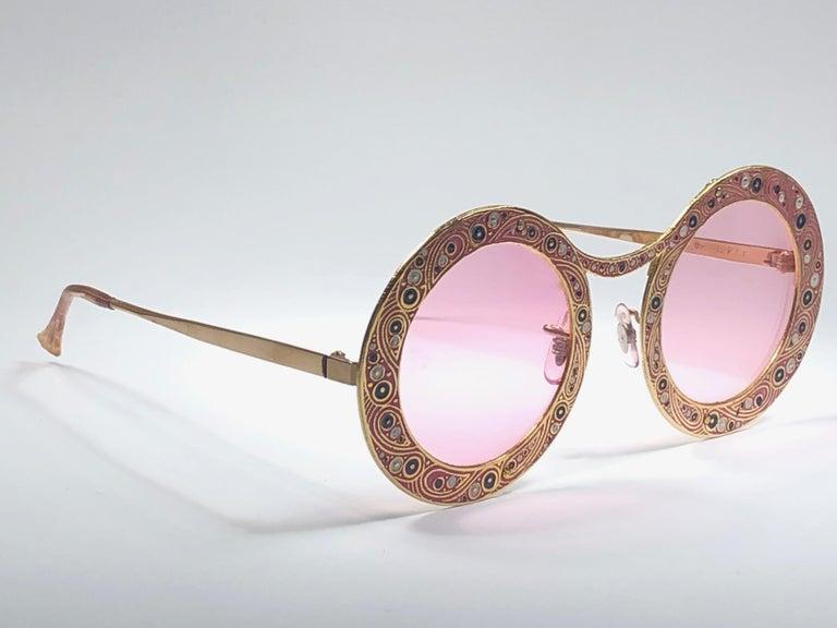 Ultra Rare Christian Dior Gypsy Rose Enamel Oversized Sunglasses, 1969  For Sale 5