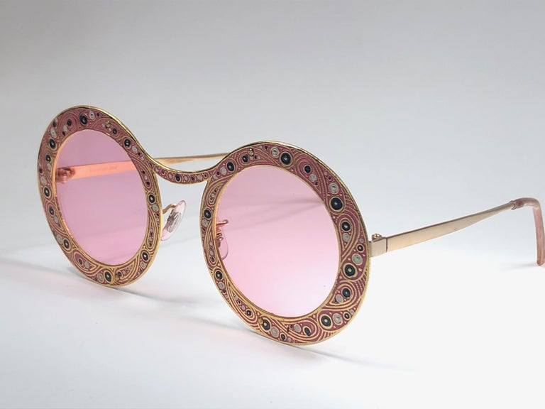 Beige Ultra Rare Christian Dior Gypsy Rose Enamel Oversized Sunglasses, 1969  For Sale