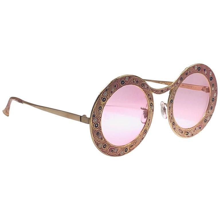 Ultra Rare Christian Dior Gypsy Rose Enamel Oversized Sunglasses, 1969  For Sale