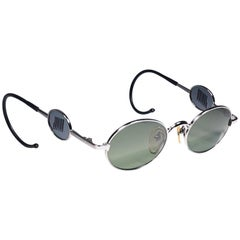Ultra Rare Jean Paul Gaultier Junior Silver Green Lens 1990 Japan Sunglasses