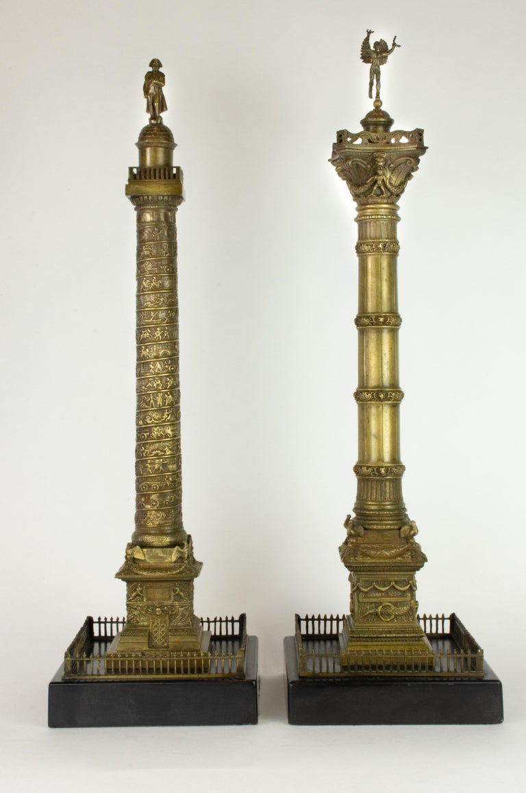 Grand Tour Pair of Richly Detailed 19th Century Bronze Vendome and July Columns, Paris For Sale
