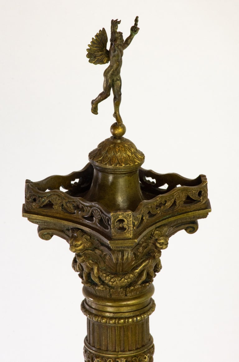 French Pair of Richly Detailed 19th Century Bronze Vendome and July Columns, Paris For Sale
