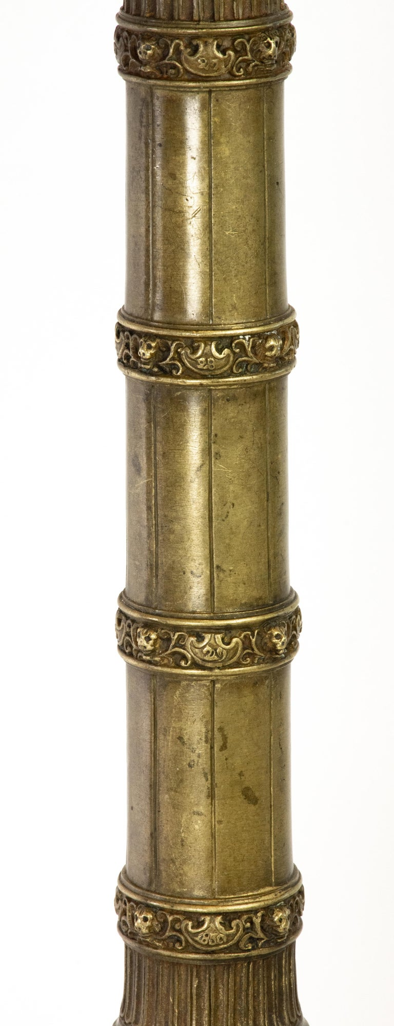 Carved Pair of Richly Detailed 19th Century Bronze Vendome and July Columns, Paris For Sale
