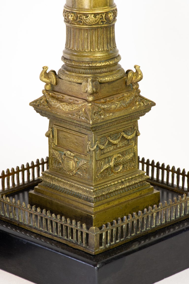 Pair of Richly Detailed 19th Century Bronze Vendome and July Columns, Paris In Good Condition For Sale In Lafayette, CA