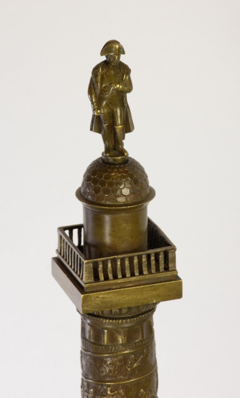 Pair of Richly Detailed 19th Century Bronze Vendome and July Columns, Paris For Sale 1