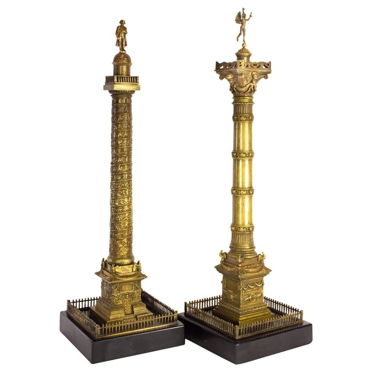 Pair of Richly Detailed 19th Century Bronze Vendome and July Columns, Paris For Sale