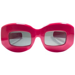 Ultra Rare Vintage Oliver Goldsmith Candy Red Oversized 1966 Sunglasses