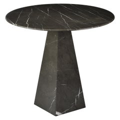 Ultra Thin Graphite Marble Round Side Table