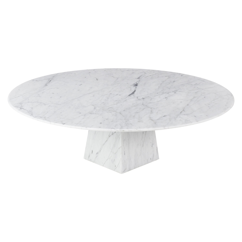 Ultra Thin White Carrara Marble Round Coffee Table