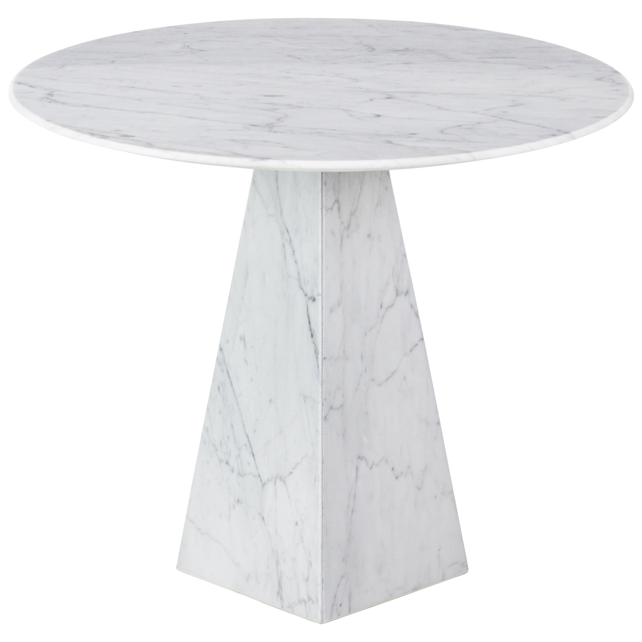 Ultra Thin White Carrara Marble Round Sidetable