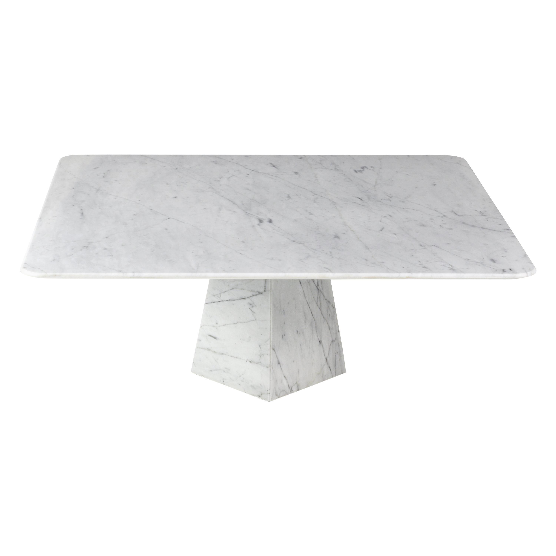 Ultra Thin White Carrara Marble Squared Coffee Table