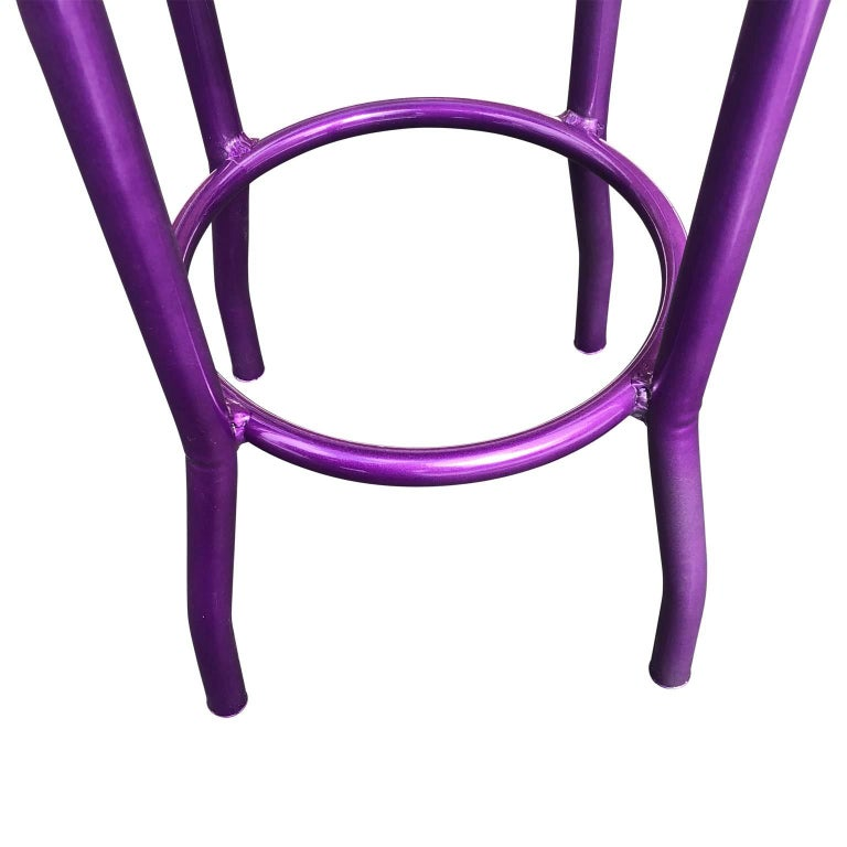 Ultra Violet Painted Bar Stool With Newly Upholstered Blue