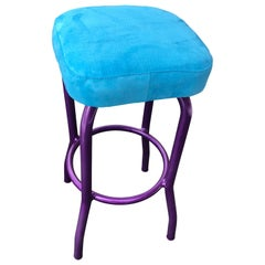 Ultra Violet Painted Bar Stool with Newly Upholstered Blue Faux Suede